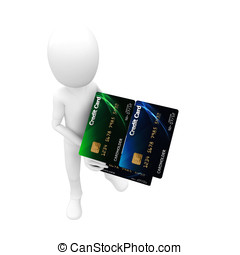 3d man with credit card house