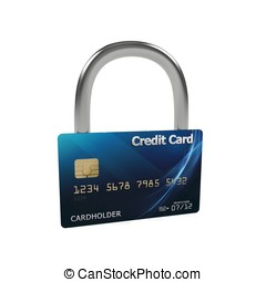 3d blue credit card with lock - 3d credit card with security...