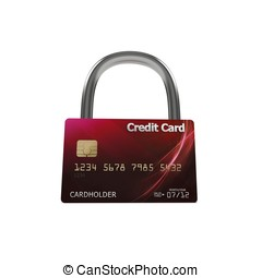 3d red credit card with lock