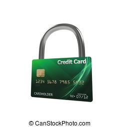 3d green credit card with lock