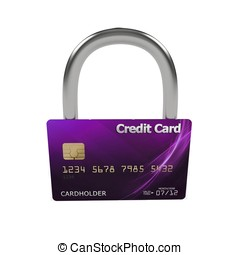 3d violet credit card with lock