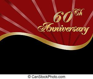 60th, mariage, Anniversaire, invitation