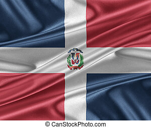 Dominican Republic flag with a glossy silk texture. -...