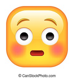 Embarrassed Emoticon with Flushed Red Cheeks. Worried Square...