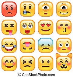 Set of Square Smile Emoticons. Isolated vector illustration...