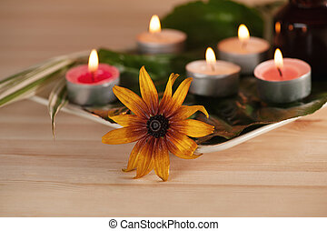 aromatherapy - scened burn candles with herbs and massage...