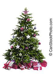 adornado, árbol, navidad