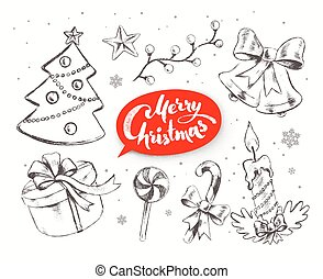 Christmas vector set with festive objects