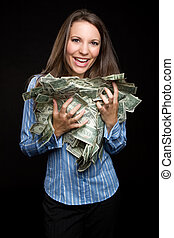 Woman Holding Money - Beautiful woman holding cash money