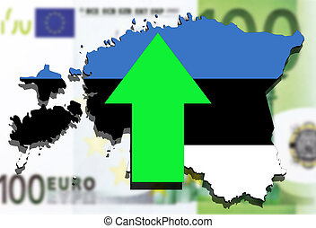 Estonia map on  euro money background, green arrow up