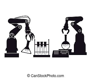 silhouette industrial robotic arm chemical test tube...