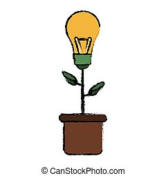 green bulb idea plant pot sketch vector illustration eps 10