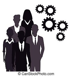 business people teamwork gear together