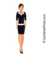 woman with black sweater business working