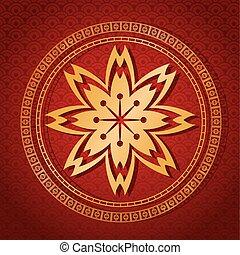 card flower golden red background vector illustion eps 10