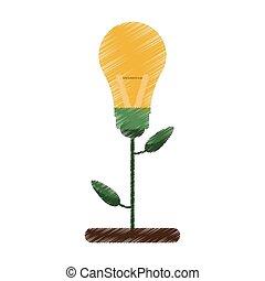 drawing green bulb idea plant pot design vector illustration...