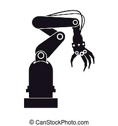 silhouette industrial robot hand tool vector illustration...