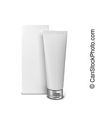 Cosmetic tube with box. 3d illustration isolated on white...