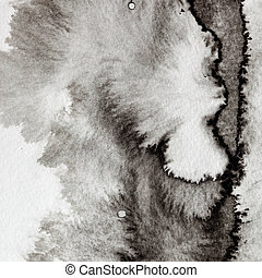 Grey formless ink stain macro - abstract background with...