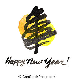 New Year Tree - Abstract New Year tree on white background -...