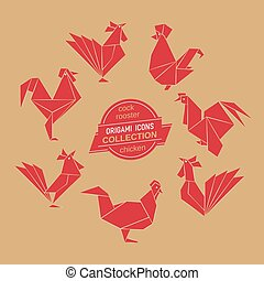 Cartoon cock icon set. Abstract red rooster sign silhouette...