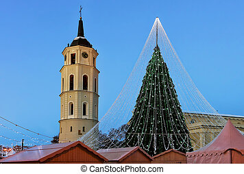 Christmas tree with decoration and Belfry at Cathedral Square