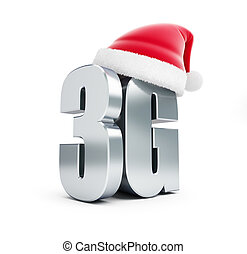 3G sign Santa Hat, 3G cellular high speed data wireless connection. 3d Illustrations on white background