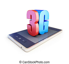 3g smartphone ang text 3g, 3G sign, 3G cellular high speed...
