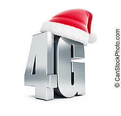 4G metal sign Santa Hat, 4G cellular high speed data wireless connection. 3d Illustrations on white background