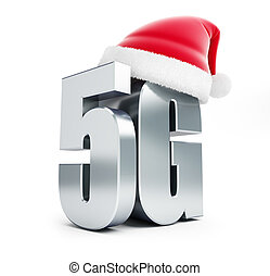 5G metal sign Santa Hat, 5G cellular high speed data wireless connection. 3d Illustrations on white background