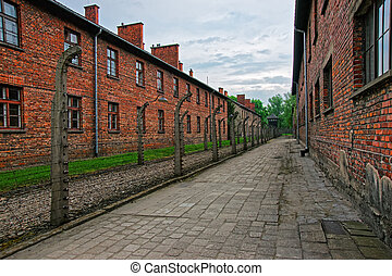 Barbed wire and barracks of Auschwitz concentration camp,...