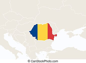 Europe with highlighted Romania map.
