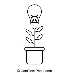 bulb idea plant pot ecology outline vector illustration eps...