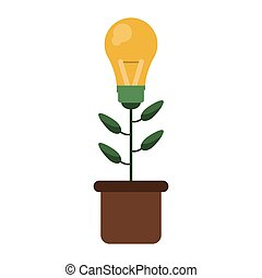 green bulb idea plant pot design vector illustration eps 10