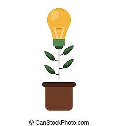 green bulb idea plant pot design vector illustration eps 10
