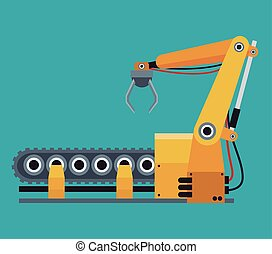 robotic production line manufacturing vector illustration...