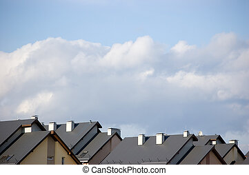 Rowhouse Roofs - Rowhouse roofs and a cloudscape