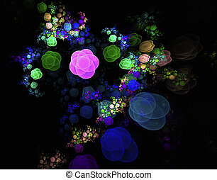 Abstract fractal field of flowers