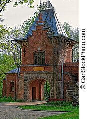 Old gate in Bialowieza National Park in Poland - Old gate in...