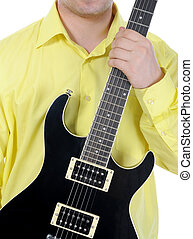 man with black guitar Isolated on white background