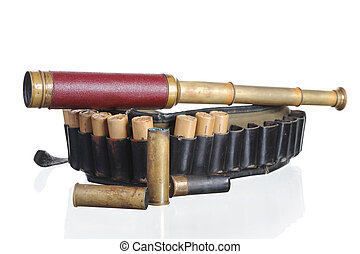 hunting leather bandolier and spyglass