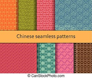 Traditional Chinese seamless patterns set. Detailed decorative motifs. Vector illustration.