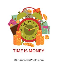 Time is money business concept. Background with old clock, money, cash, coins and credit cards. Vector illustration.