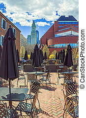 Custom House Tower and cafe with umbrellas at Long Wharf