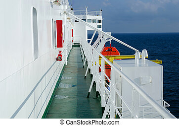 On the deck of passenger ferryboat
