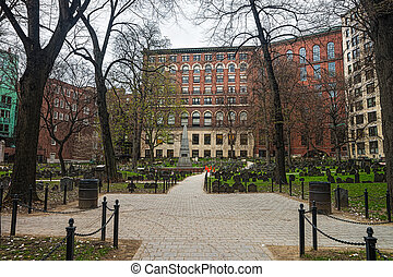 Granary Burying Ground in Tremont Street in Boston - Granary...