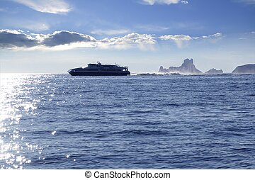 Ferry crossing Ibiza Formentera sunset Es Vedra horizon...