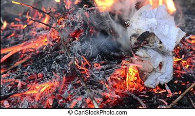 Fireplace with burning fire. Firewood is lying in the fireplace. Fire is burning with beautiful spurts of flame. Close up