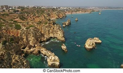 Aerial. Aerial view of the Bay Ponta de Piedade. Lagos...