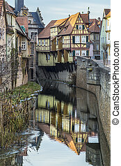 view to old half timbered houses in Marktbreit, Germany